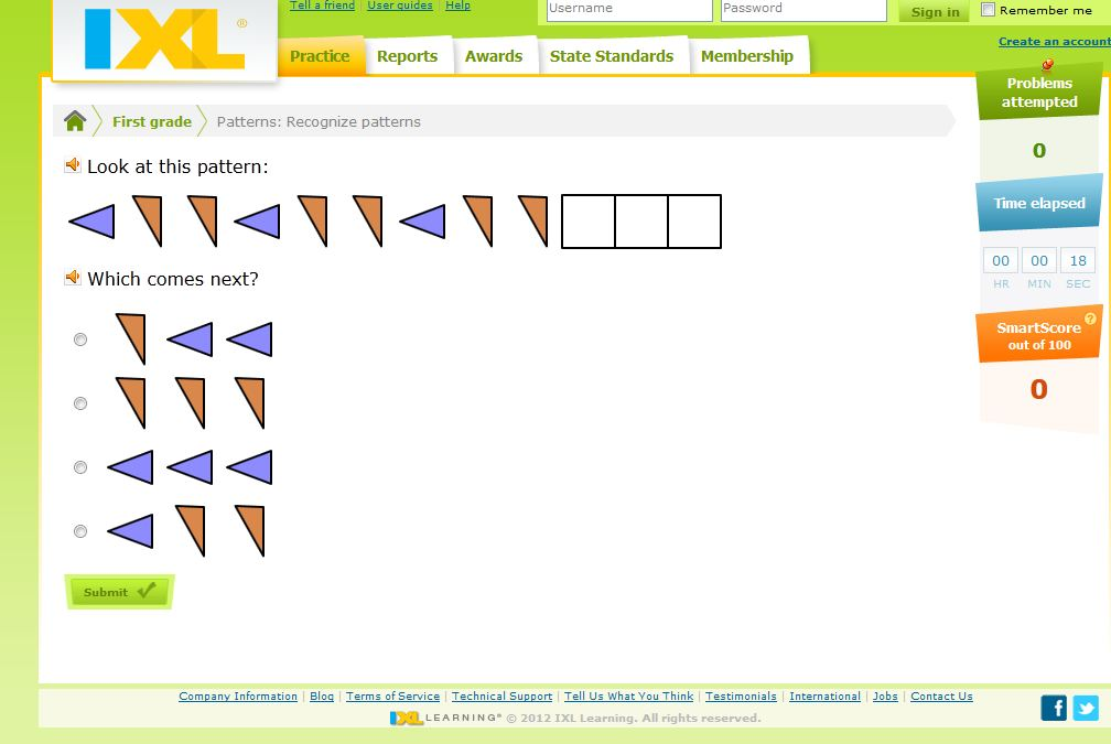 Activity 11: Math Online Games- Patterns - First Grade Math Work ...