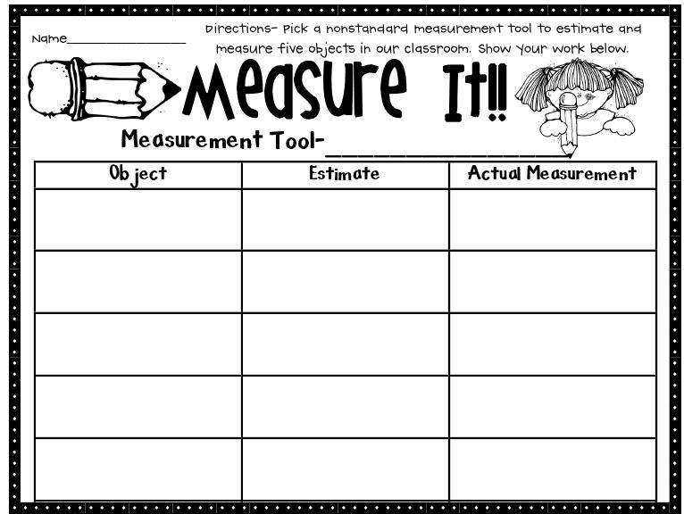 Printables Measurements Worksheets activity 6 non standard measurement first grade math work stations download file